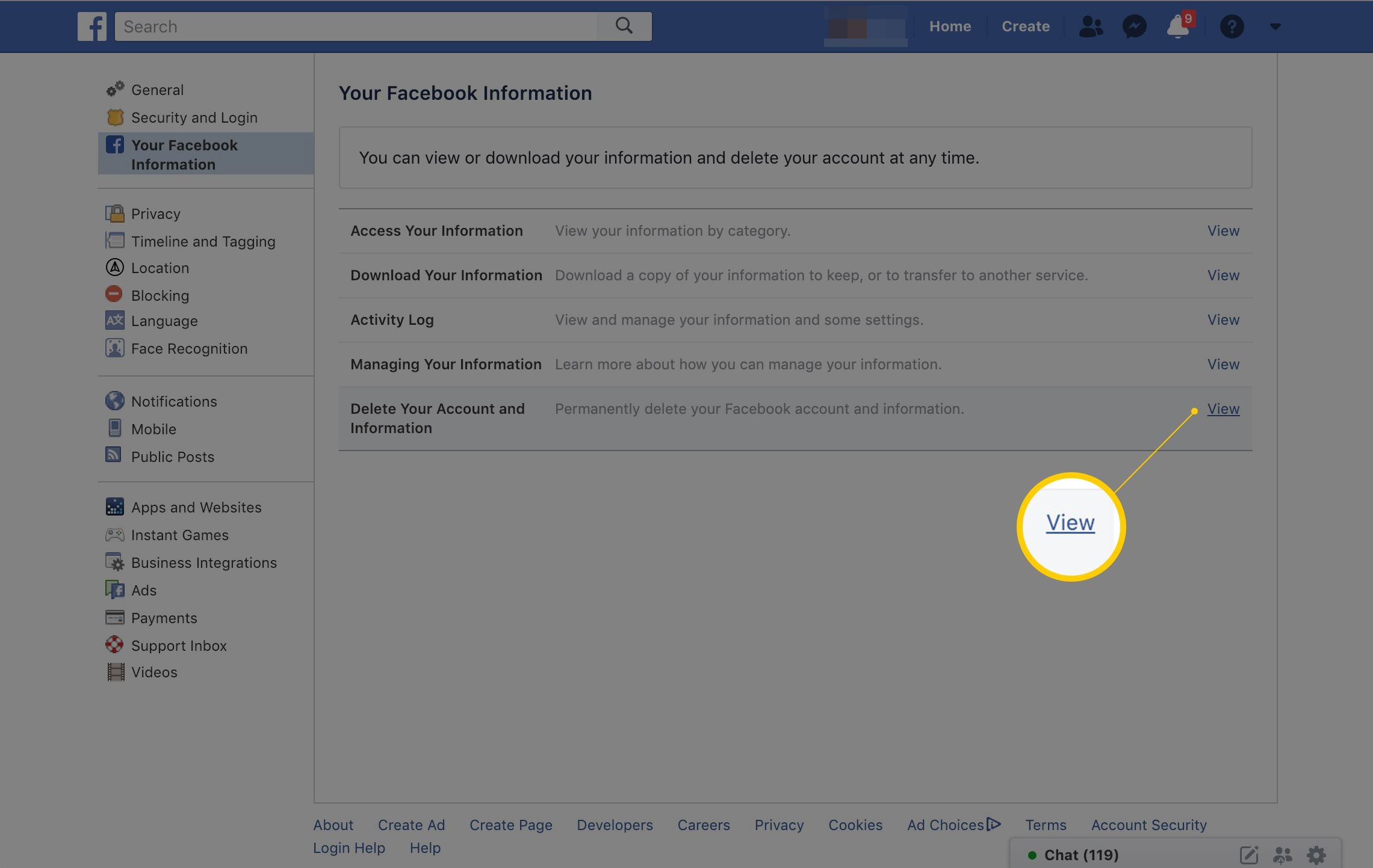 View link next to Delete Your Account and Information on Facebook