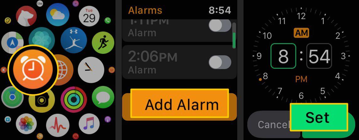 Alarm icon, Add Alarm button, Set button on Apple Watch