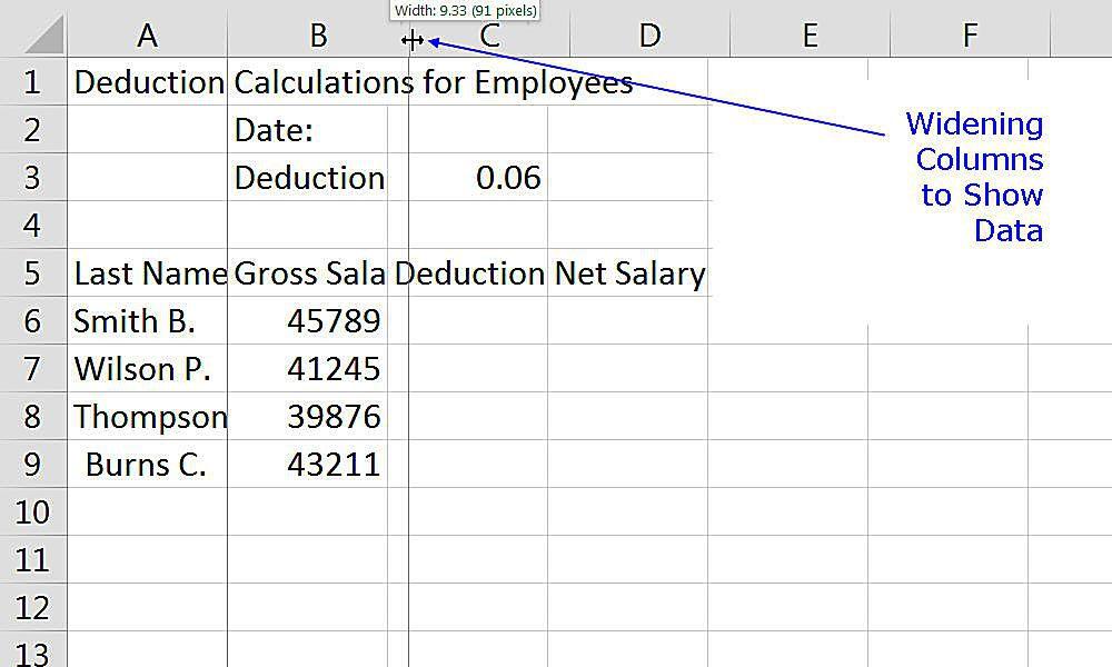 Widening columns to display data in an Excel worksheet