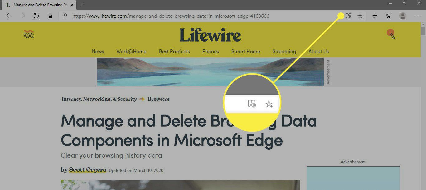 A screenshot of Microsoft Edge with the Immersive Reader icon highlighted