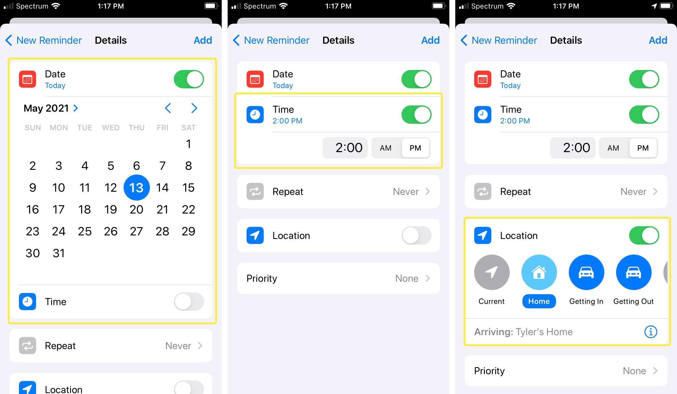 iPhone set reminder details