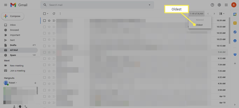 Oldest option in Gmail Inbox menu