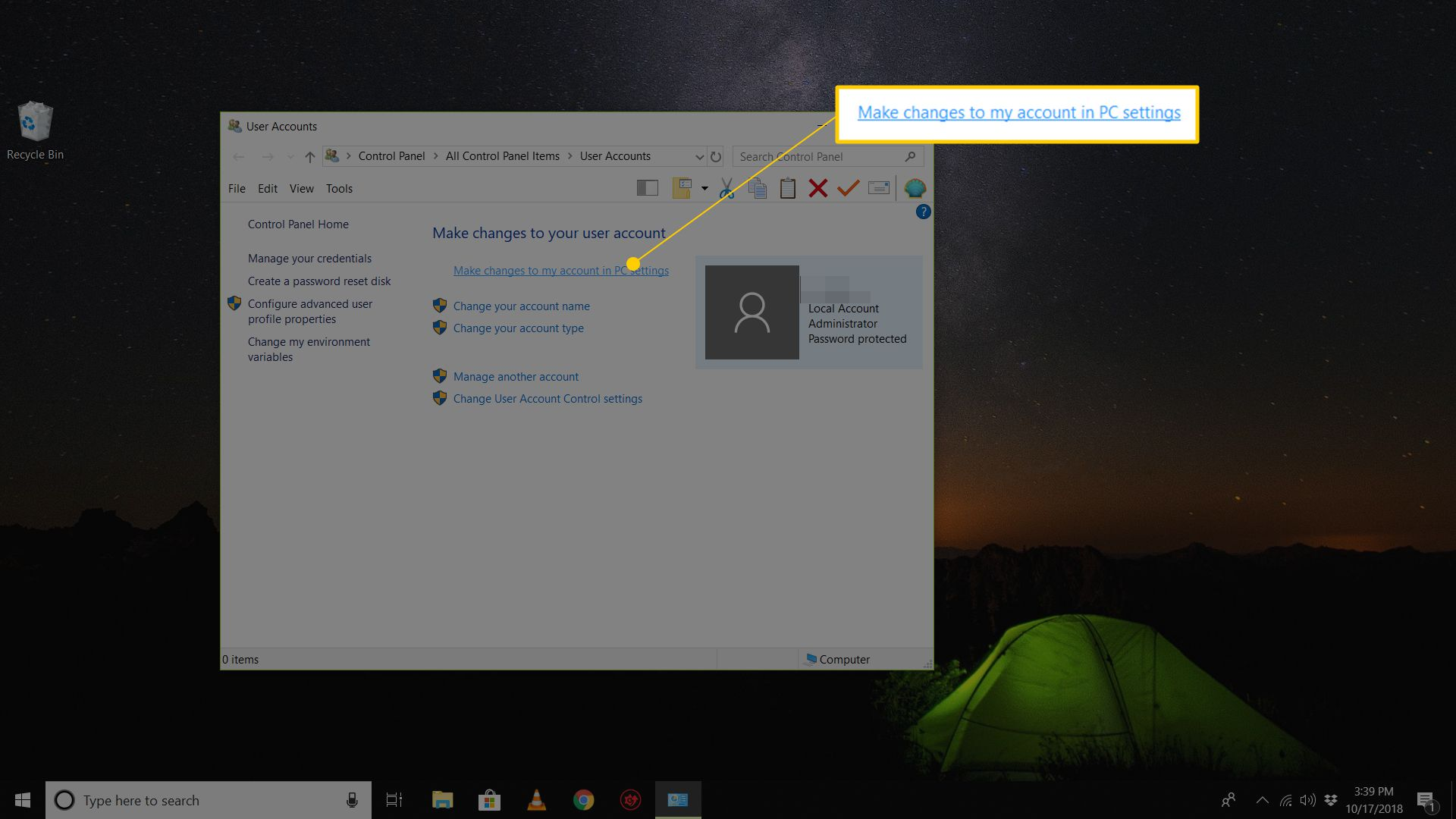 Make changes to my account in PC settings button in User Accounts pane