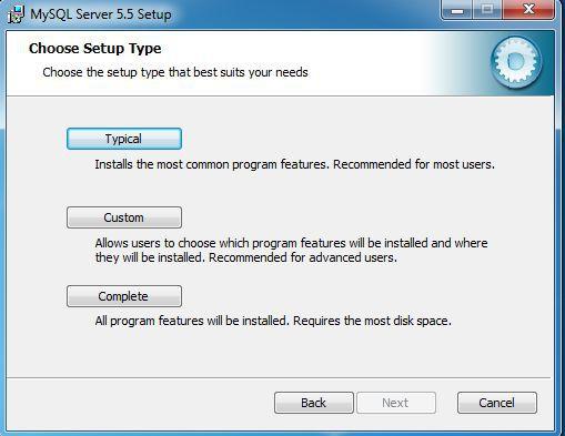 MySQL server setup type screen