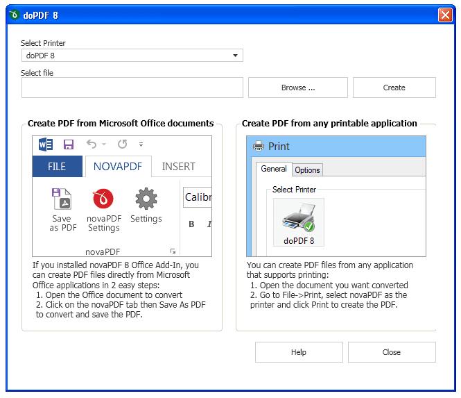 Screenshot of doPDF in Windows XP