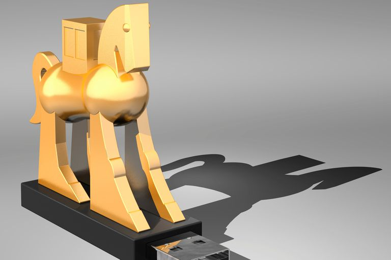 A trojan horse atop a USB flash drive