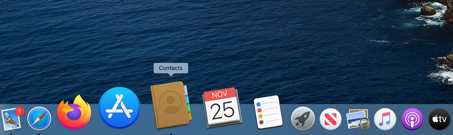 Contacts icon on the Dock of a Mac