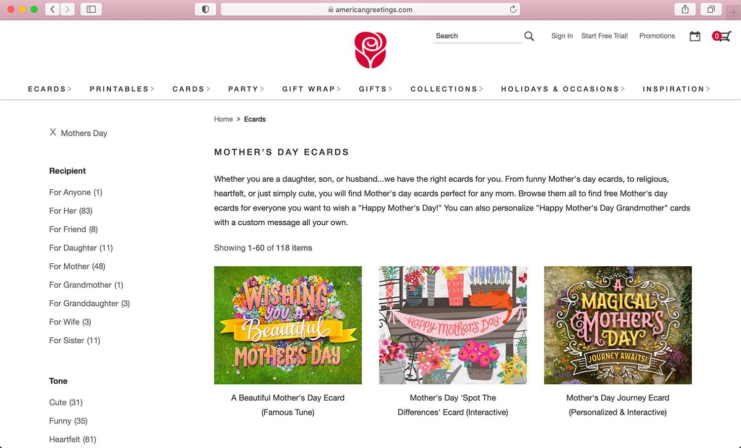 American Greetings e-card website for Mother's Day and other special days