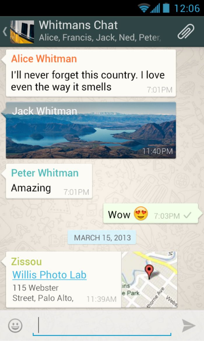 WhatsApp message screenshot