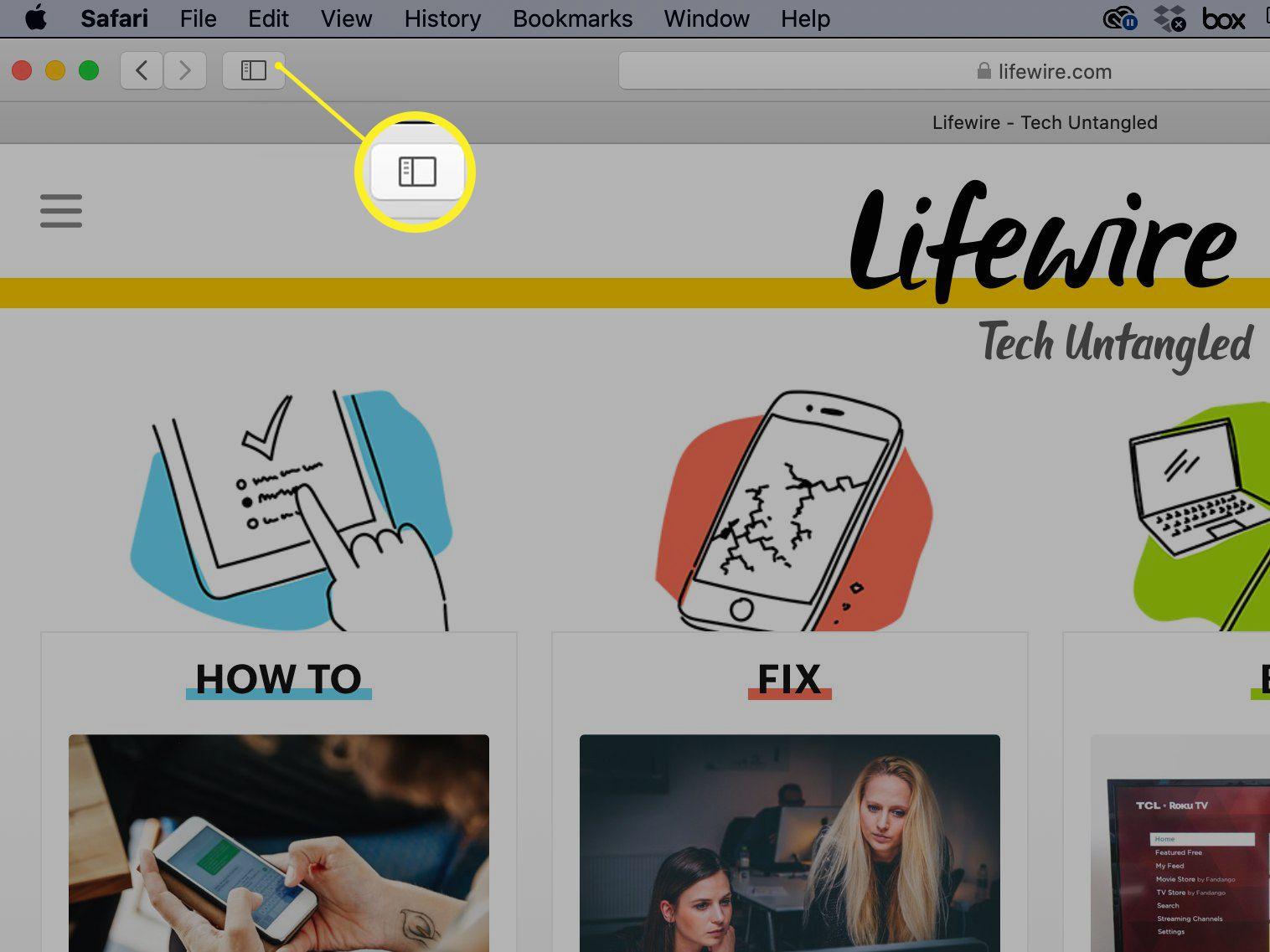 Safari Show sidebar icon