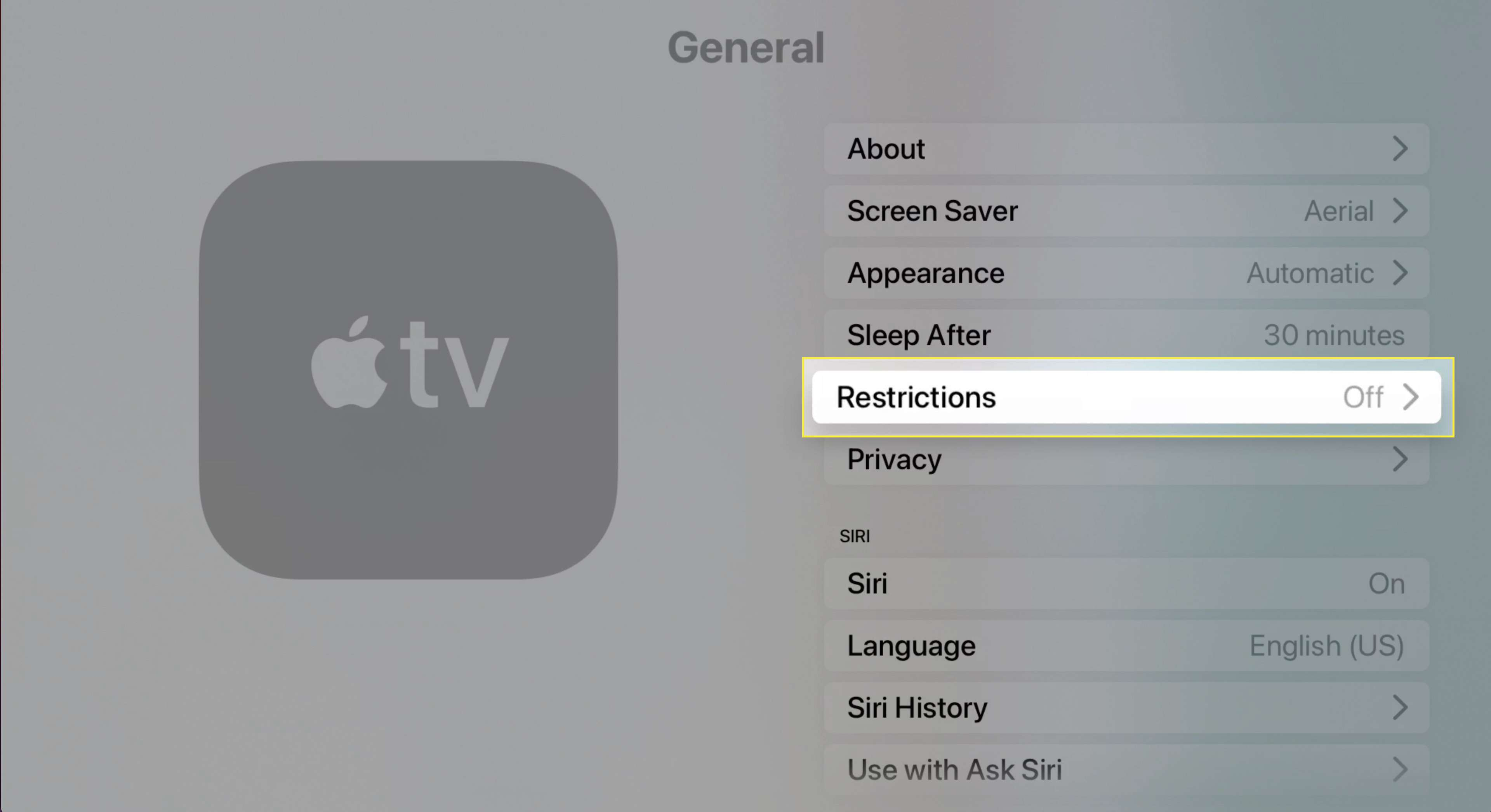Apple TV General Settings with Restrictions highlighted