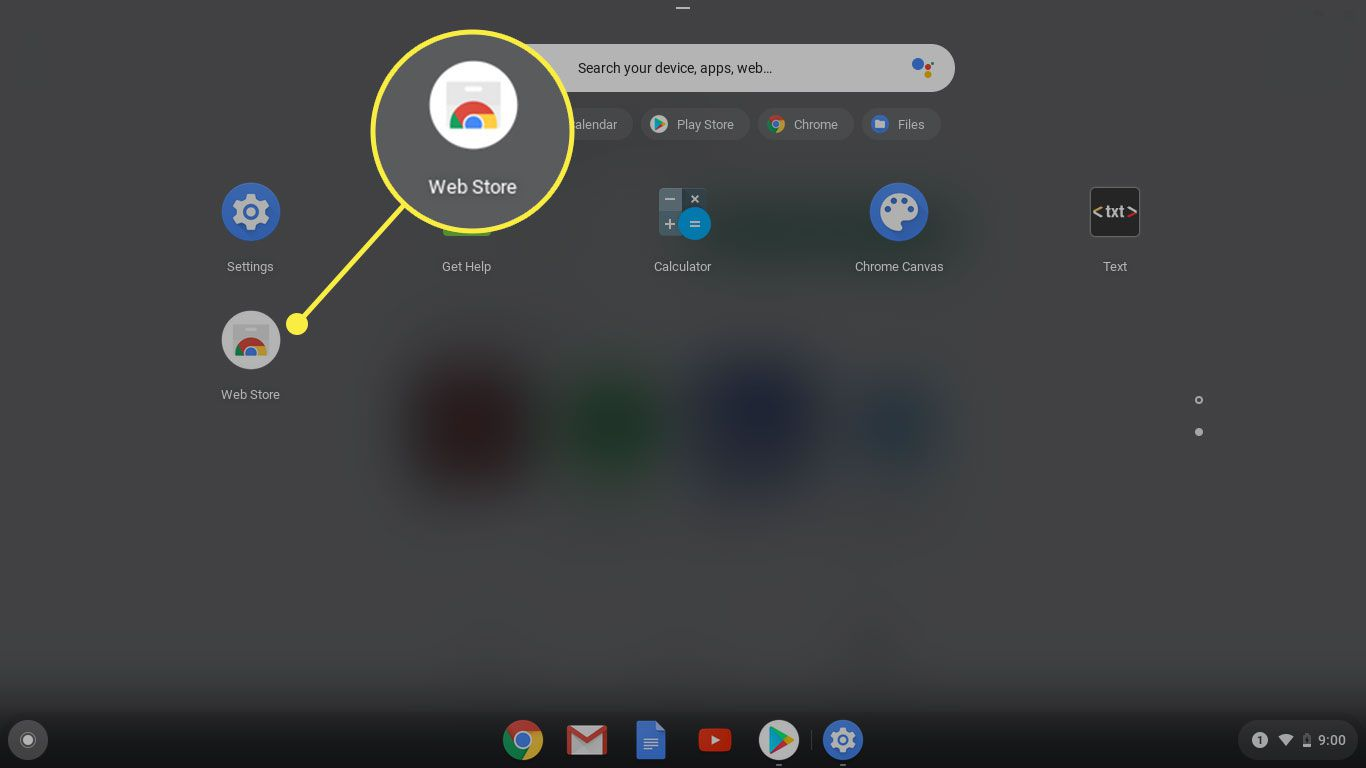 The Web Store icon on a Chromebook