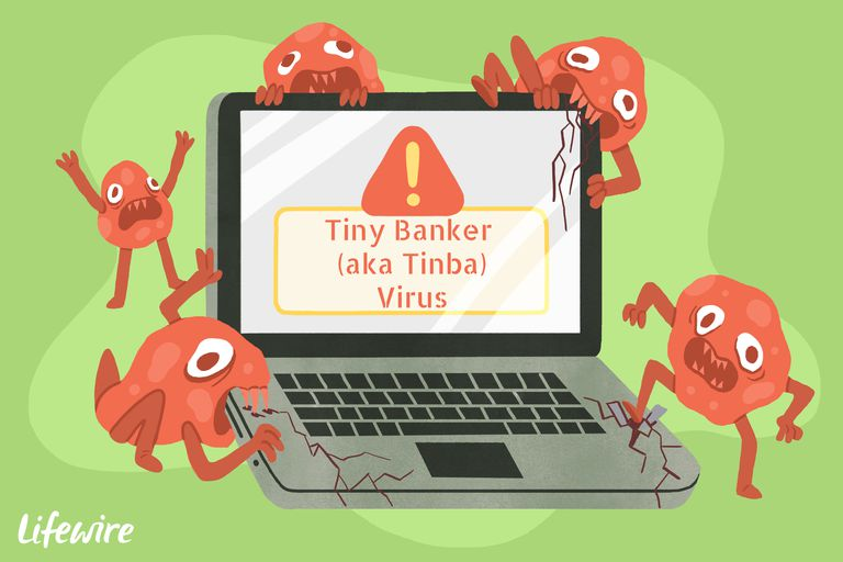 A conceptual illustration of the Tiny Banker (aka Tinba) virus destroying a computer.