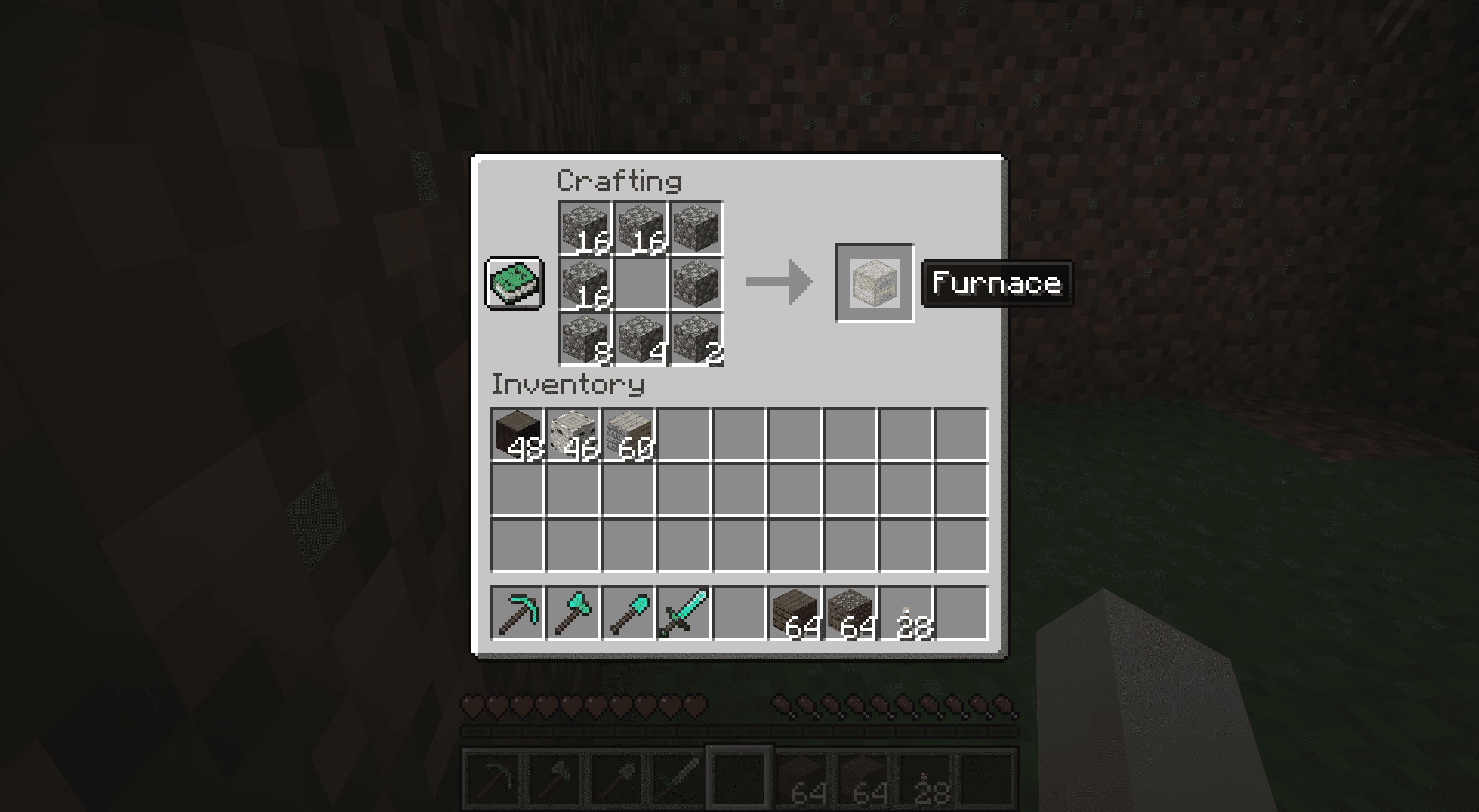 Making a furnace in Minecraft.