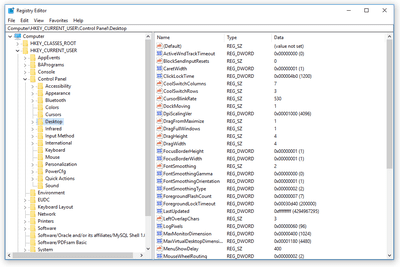 Screenshot of lots of registry values in the Windows 10 Registry Editor