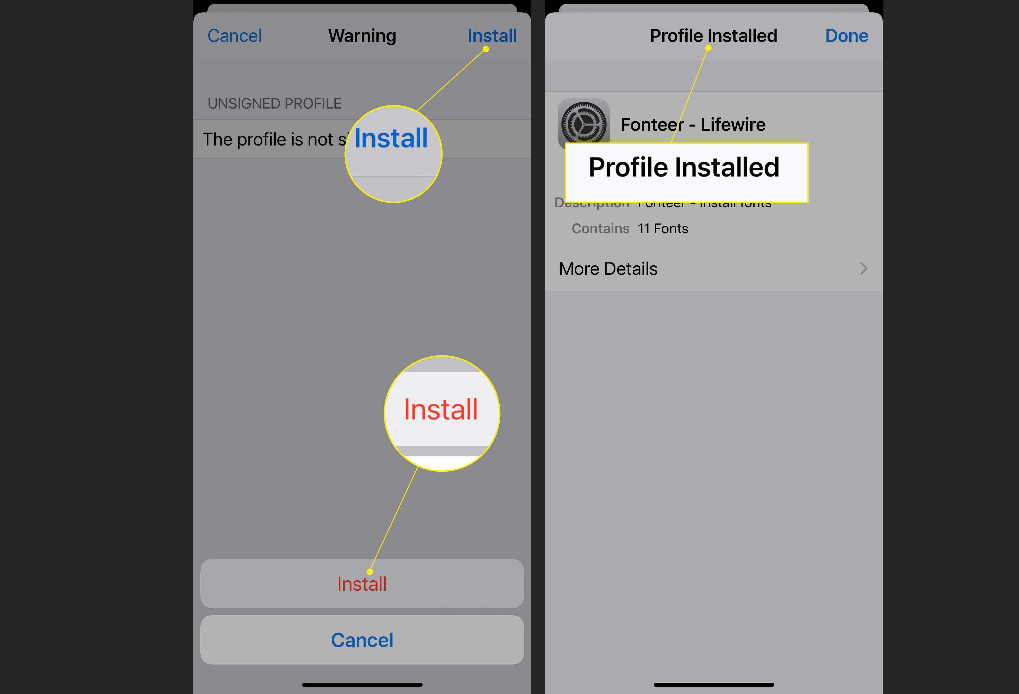iPhone profile settings with Install > Install highlighted, and Profile Installed message highlighted