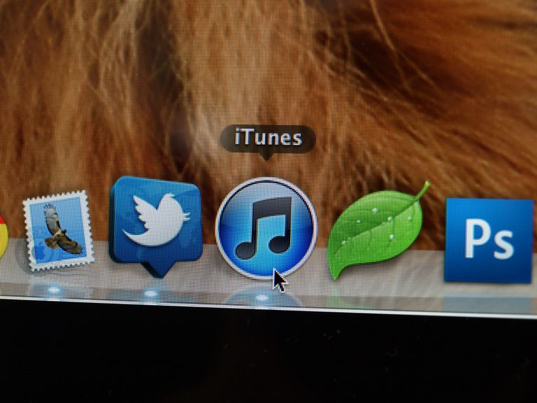 iTunes icon on a Mac computer screen