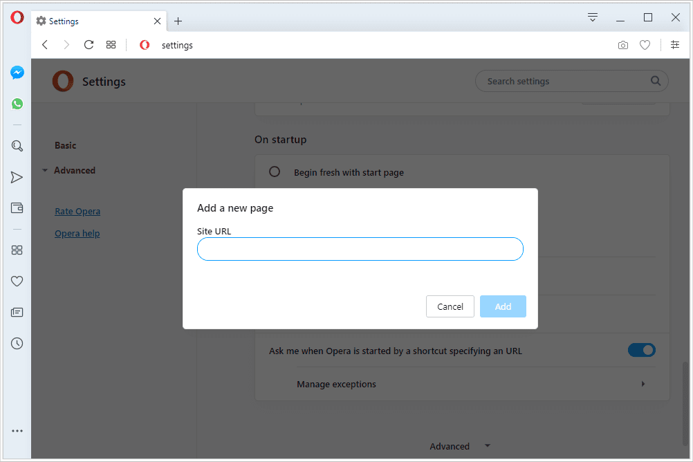 Add a new page prompt in Opera