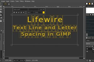GIMP text line and letter spacing example