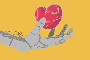 Robot hand on yellow background, holding a metallic red heart.