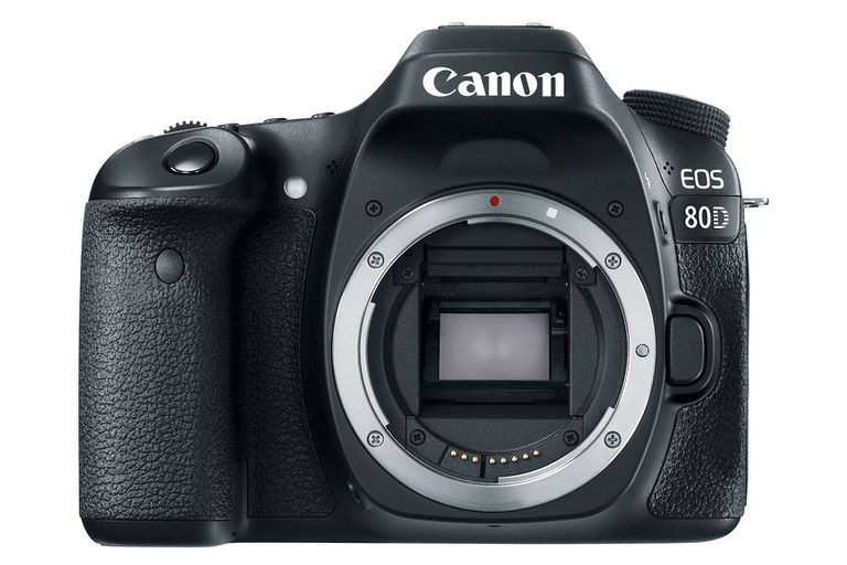 A canon EOS 80D DSLR camera with no lens