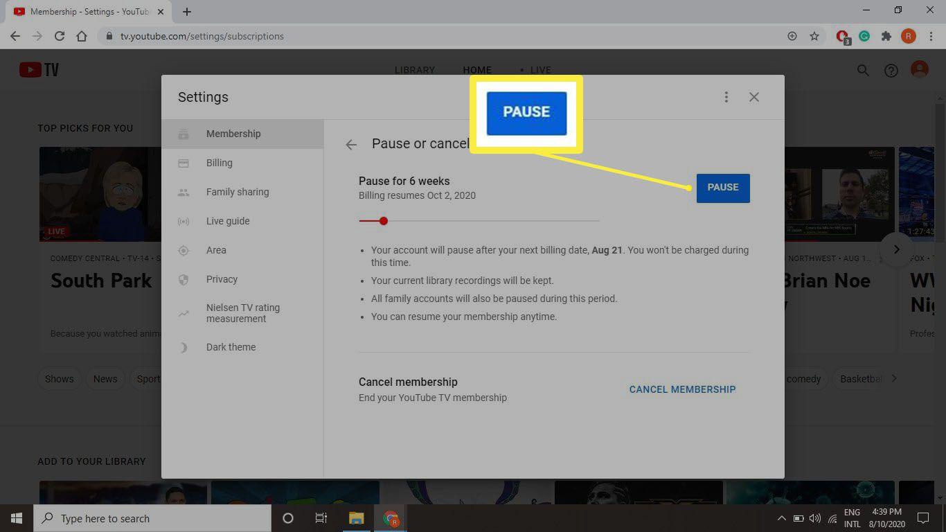 A screenshot of pausing your tv.youtube.com account.