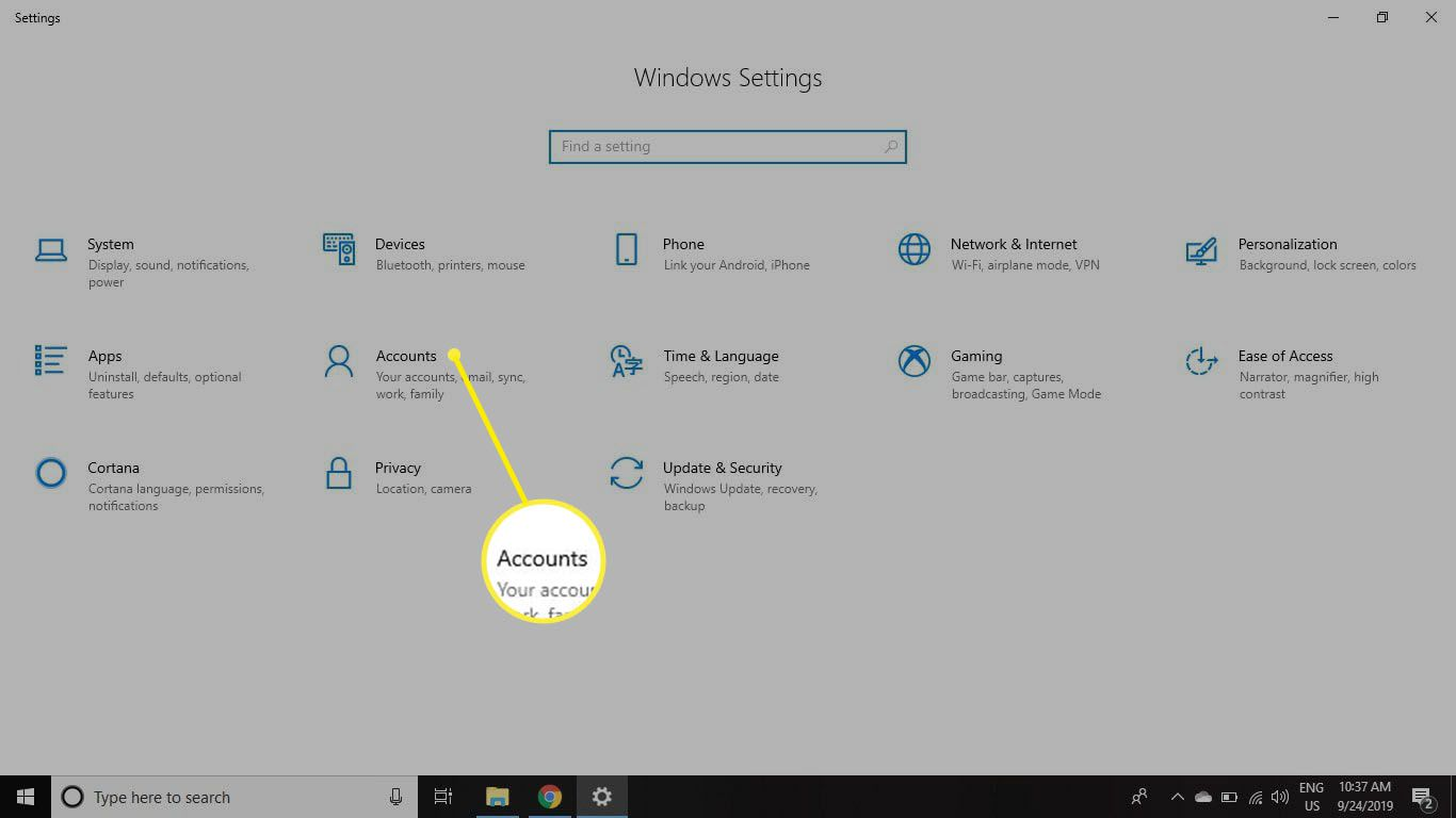 Select Accounts in your Windows Settings