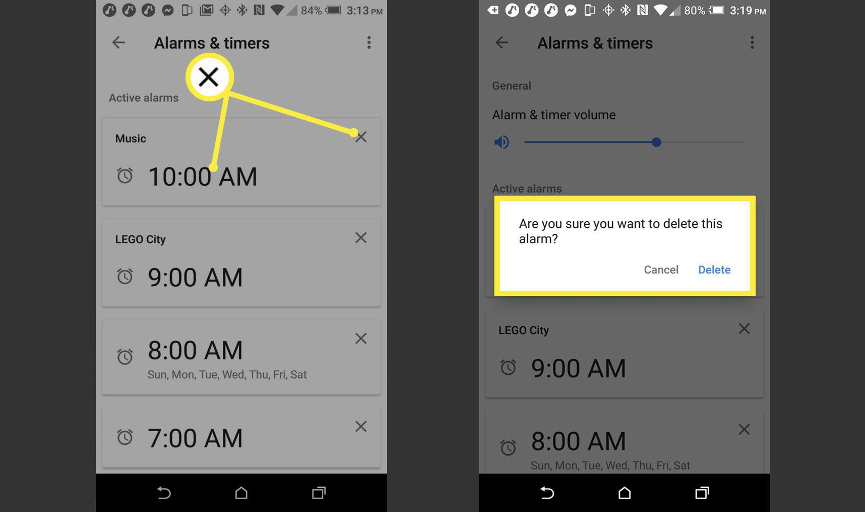 Alarms and Timers > Delete Alarm > Confirm Alarm Deletion.