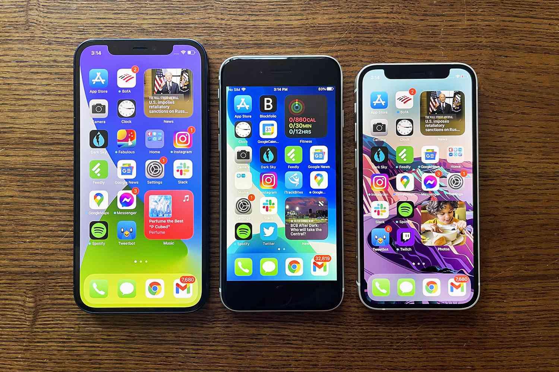 Left to right: Apple iPhone 12 vs. iPhone SE (2020) vs. iPhone mini