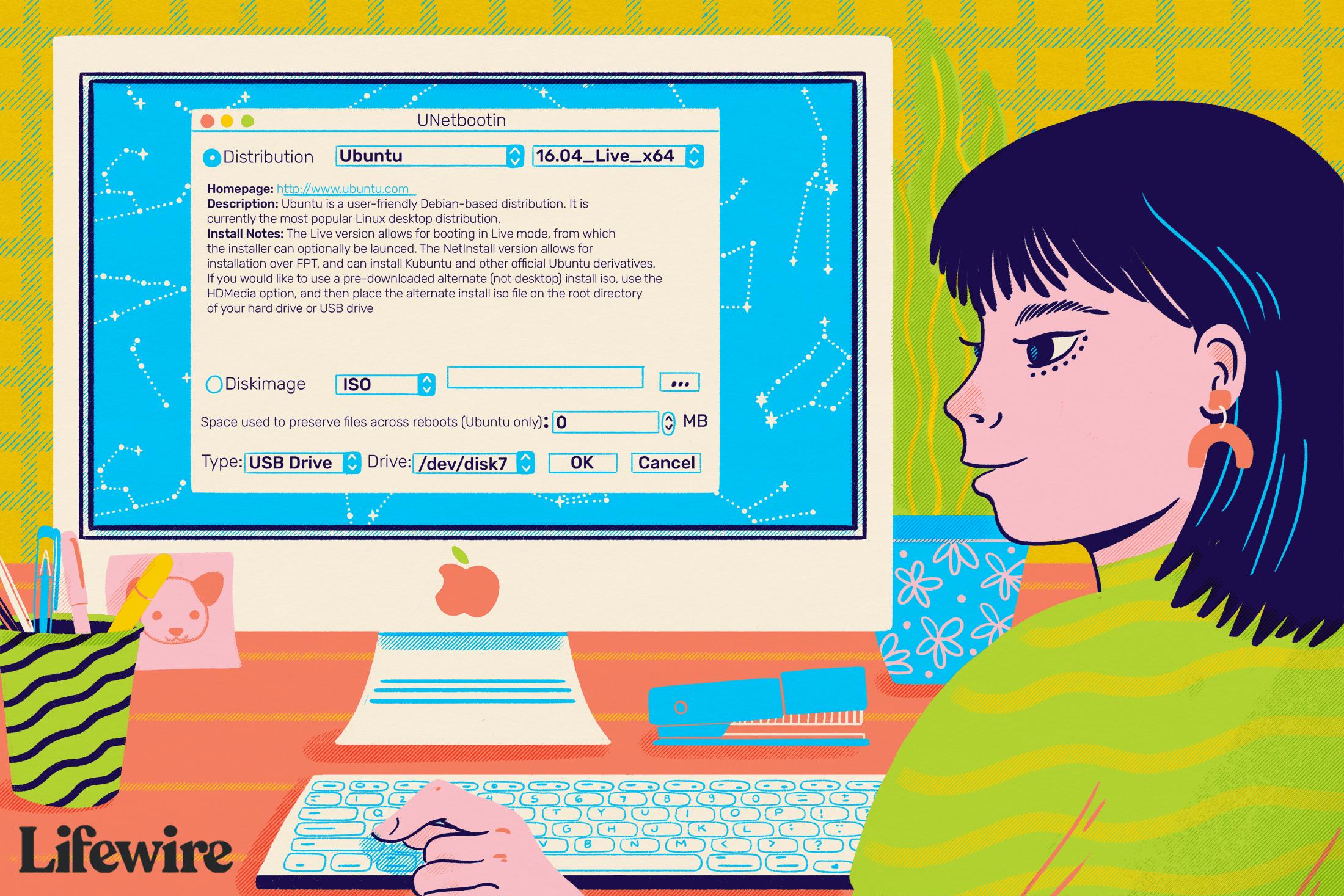 Person using Mac desktop to run Ubuntu Linux