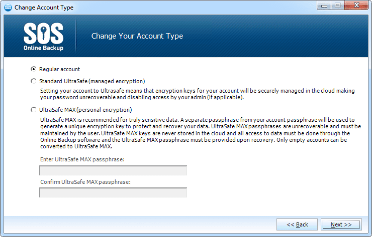 Screenshot of the Change Account Type screen in SOS Online Backup