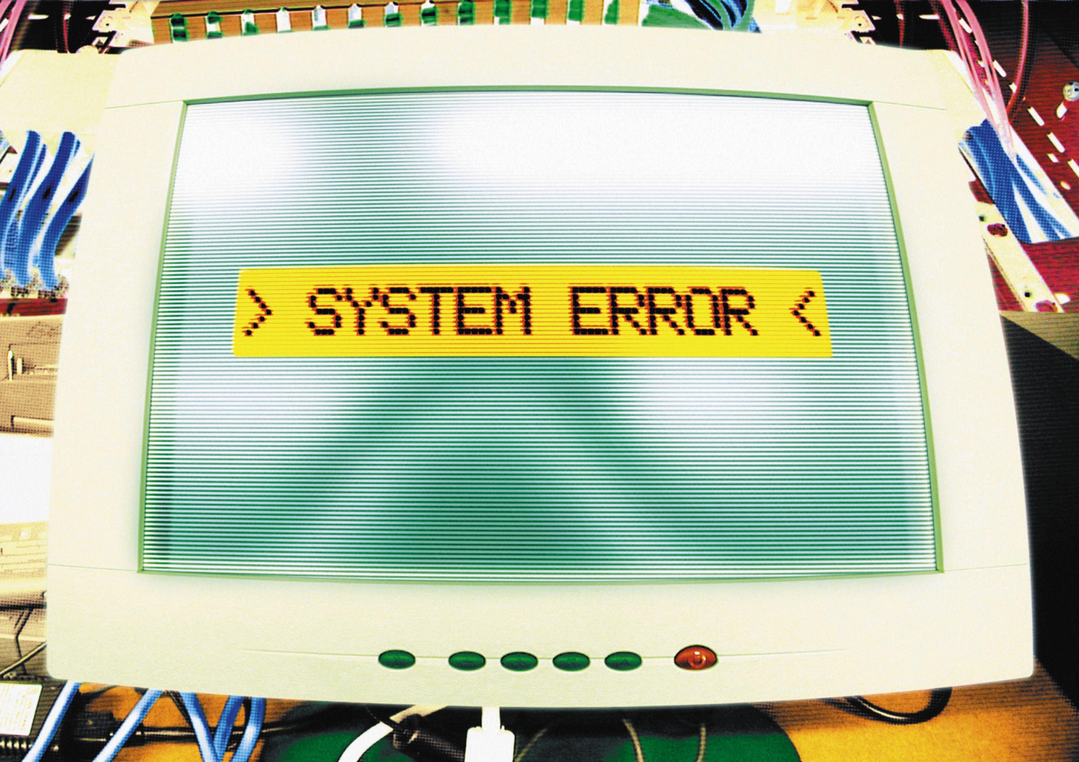system error written on a monitor