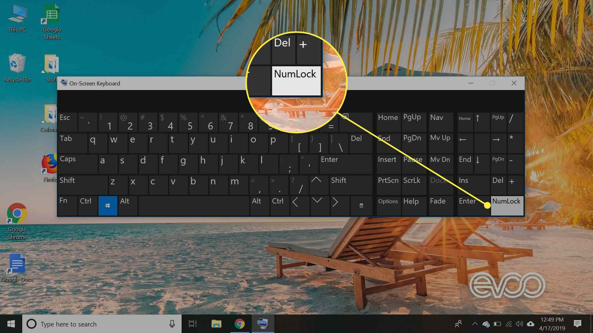 A screenshot of Windows 10's onscreen keyboard with the NumLock key highlighted