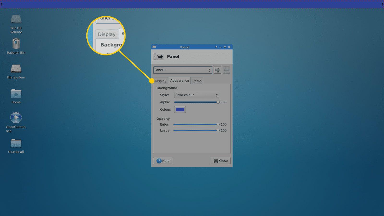 Display tab in Panel