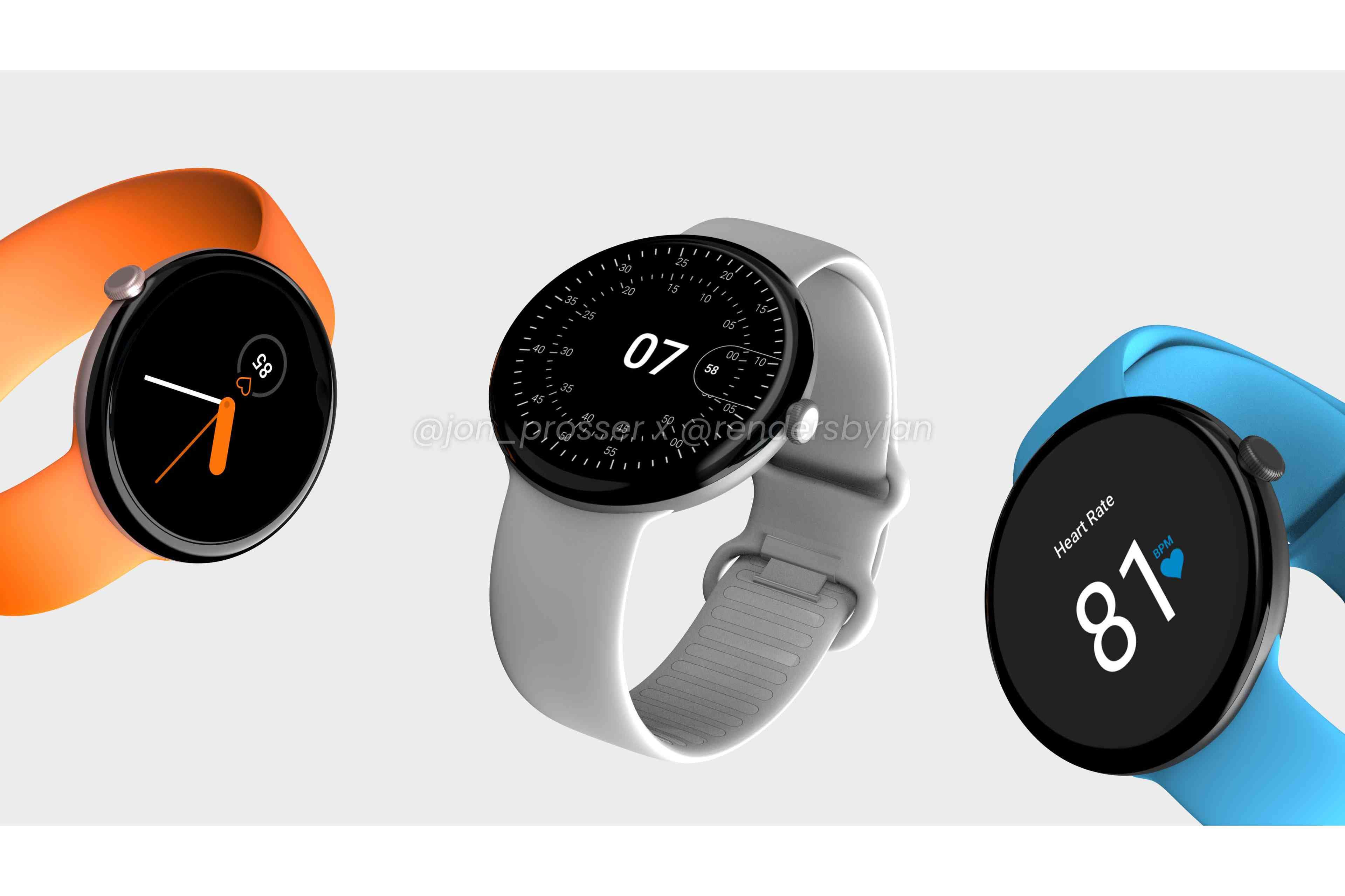 Google Pixel Watch renders in orange, grey, and blue