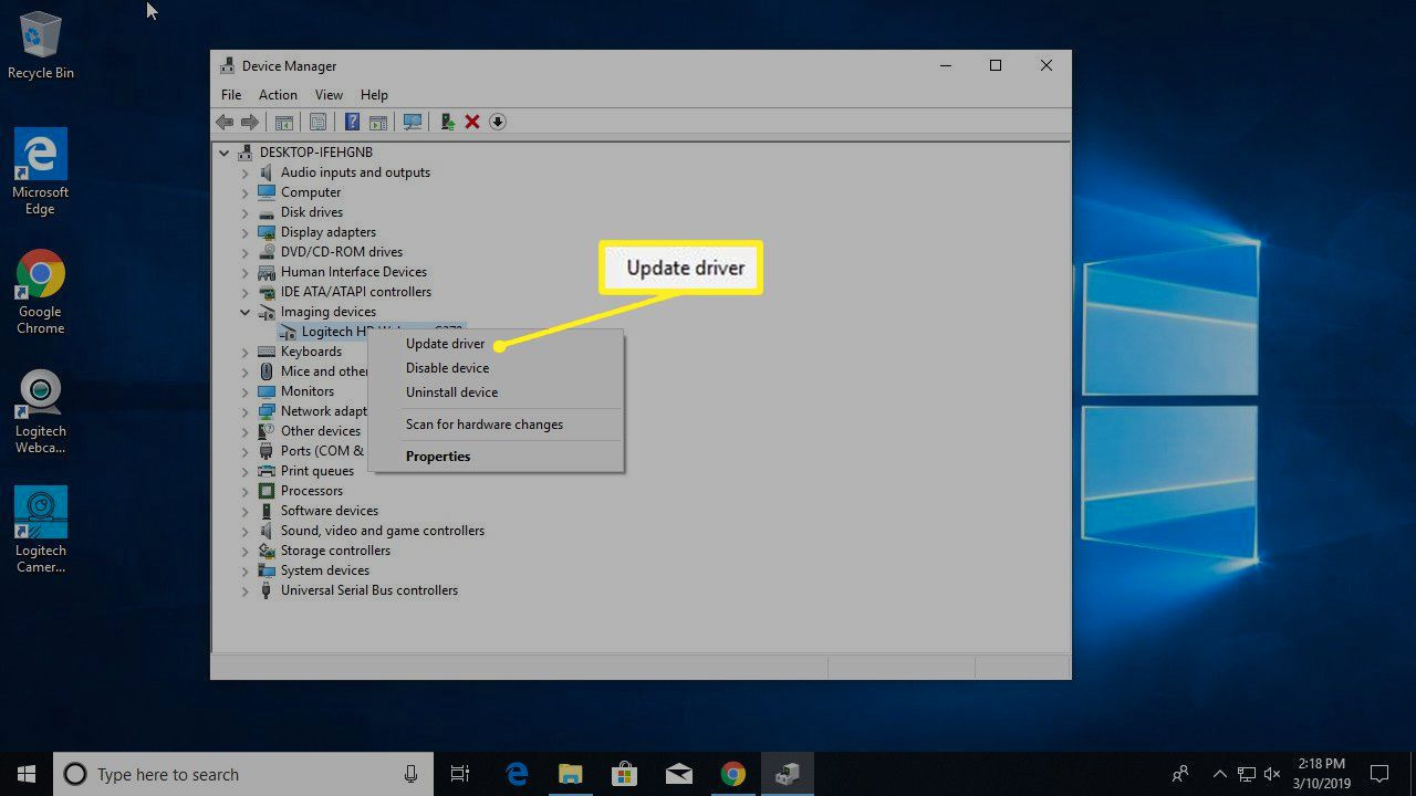Update driver for webcam in Device Manager/Imaging devices