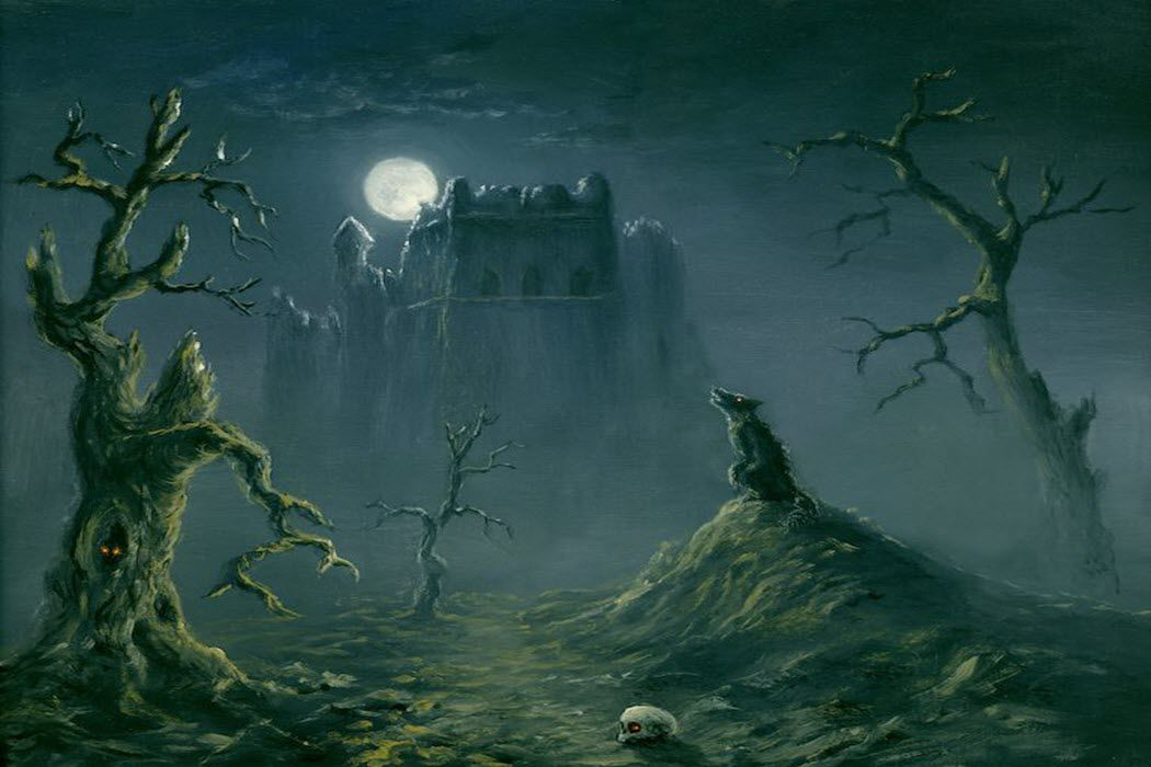 A haunted castle with a full moon rising over it.