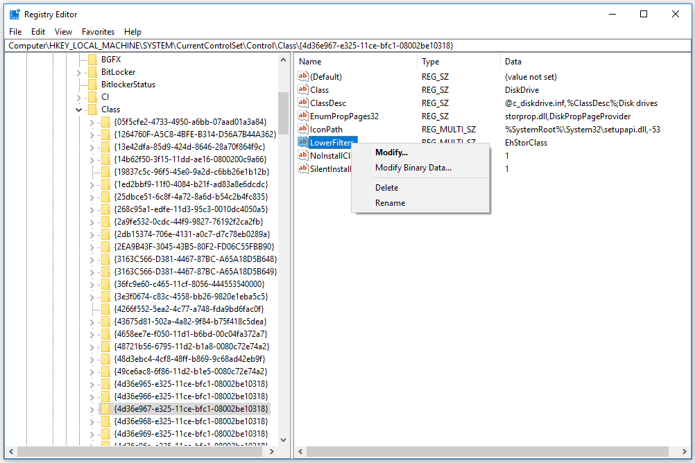 Deleting the LowerFilters Registry Value in Windows 10