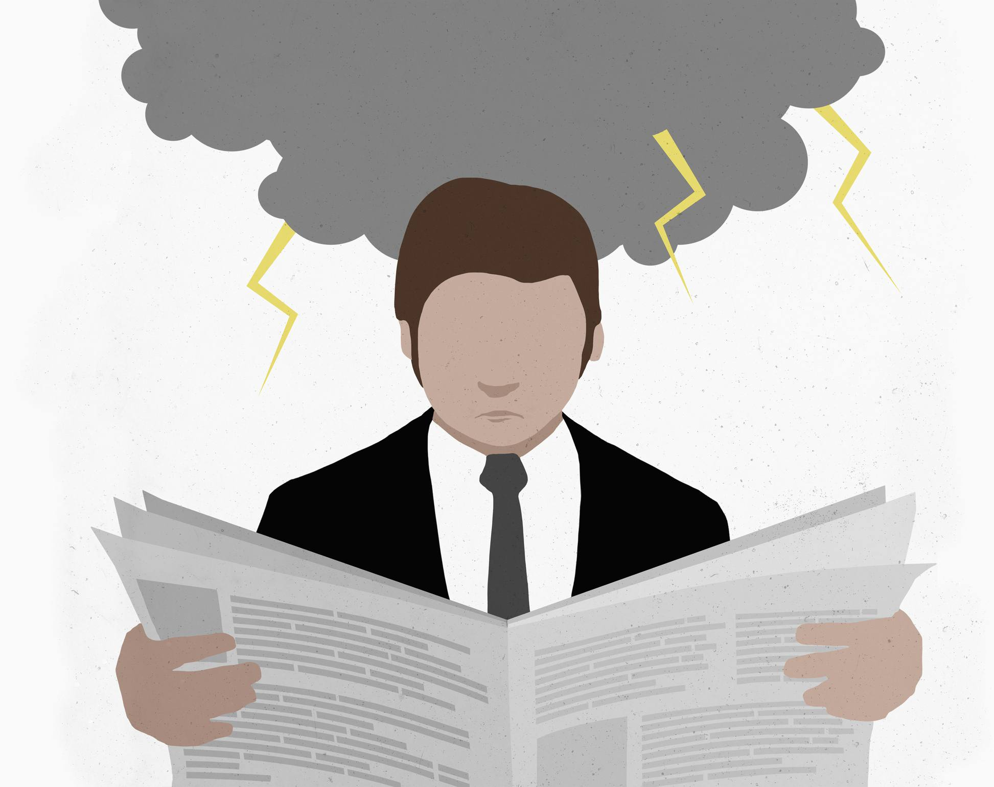 Person reading newspaper with rain cloud overhead