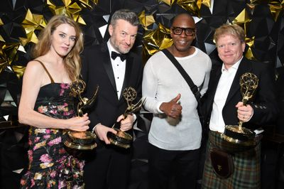 Annabel Jones, Charlie Brooker, Dave Chappelle, and Russell McLean attend the 2019 Netflix Primetime Emmy Awards