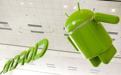 The Android logo suspended at a convention