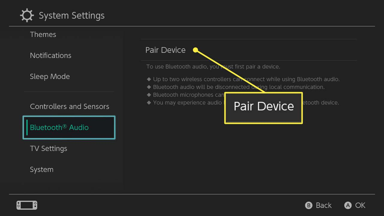 The Pair Device option in the Bluetooth Audio menu of the Nintendo Switch