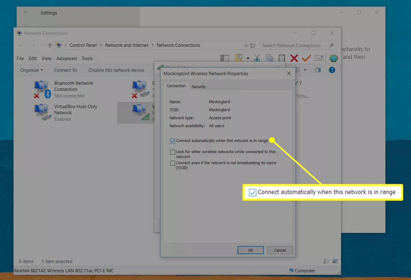 'Connect automatically when this network is in range' selection in Wireless Network Properties window