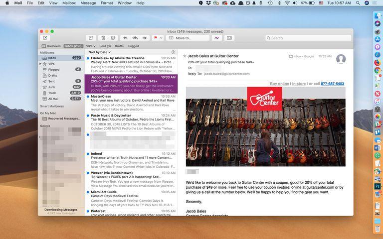 macOS Mail app on Desktop