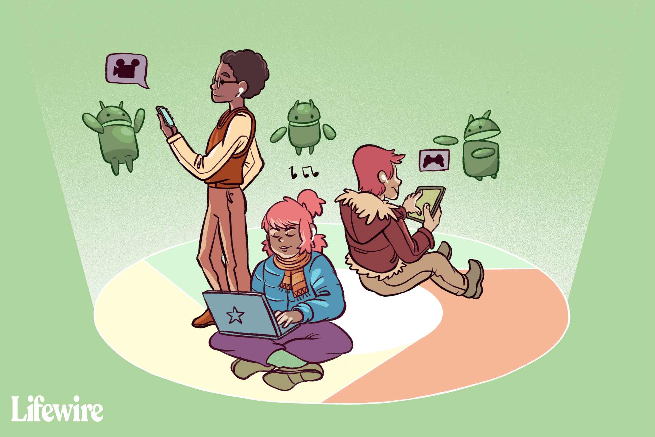 Three people using AirPods with non-Apple devices