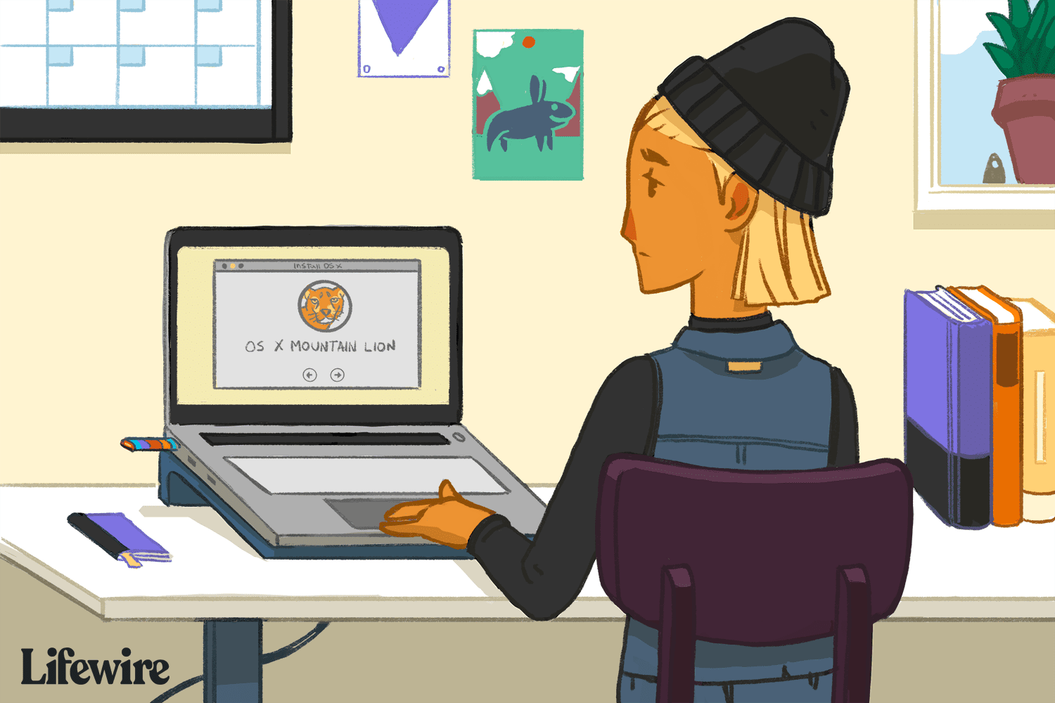 Illustration of a person using a laptop to create an OS X Mountain Lion bootable USB drive