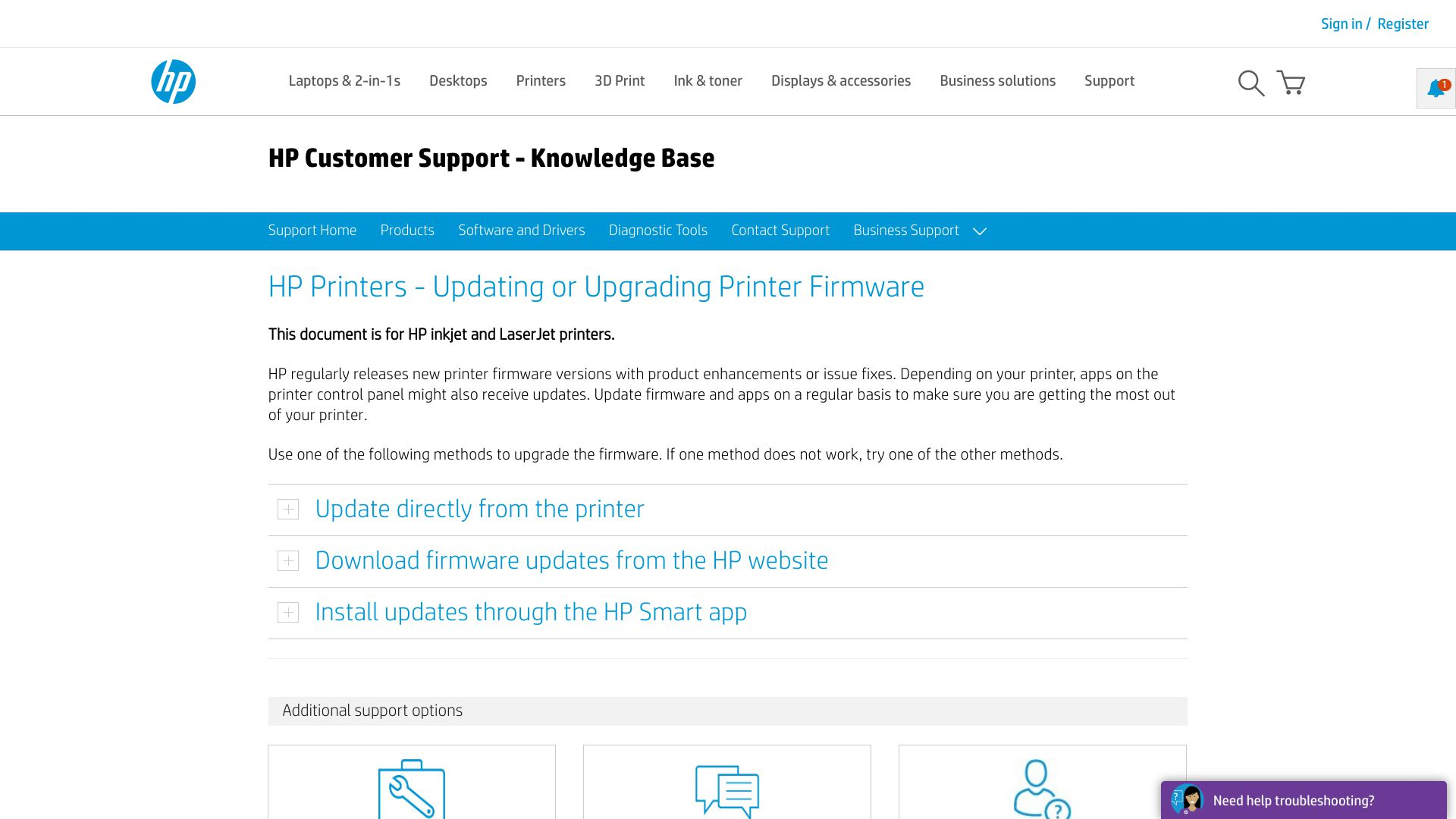 Screenshot of HP Printer web page for