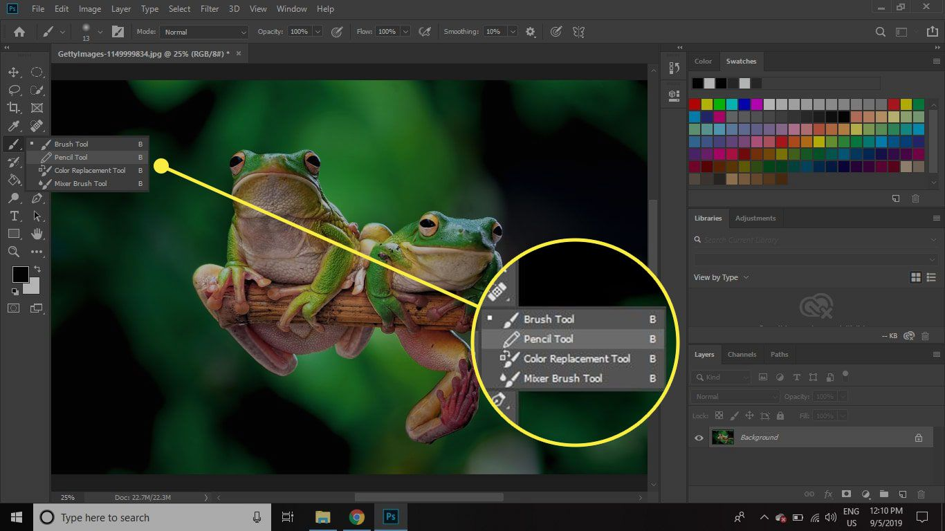 A screenshot of Photoshop with a tool submenu highlighted