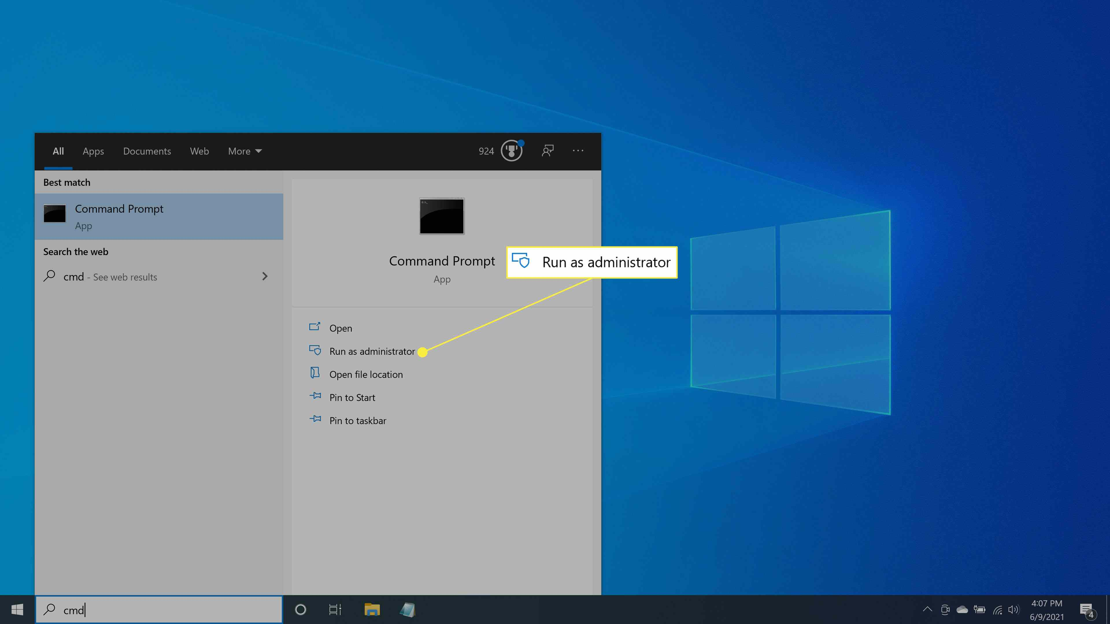 Running the Command Prompt as the administrator in Windows 10.