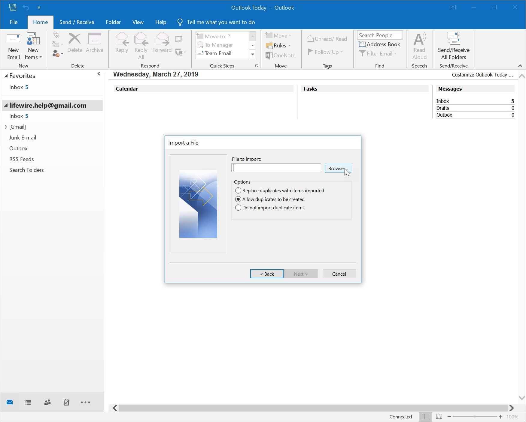 Browse button for locating CSV file of contacts in Outlook 2016